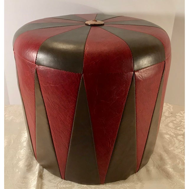 Red 20th Century Boho Chic Brown Leatherette Pouf Footstool For Sale - Image 8 of 8