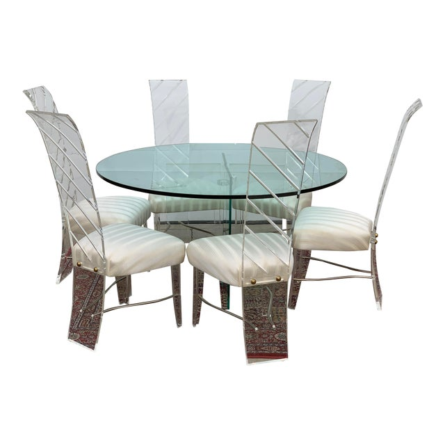 Lucite and Glass Dining Set - 7 Pieces For Sale