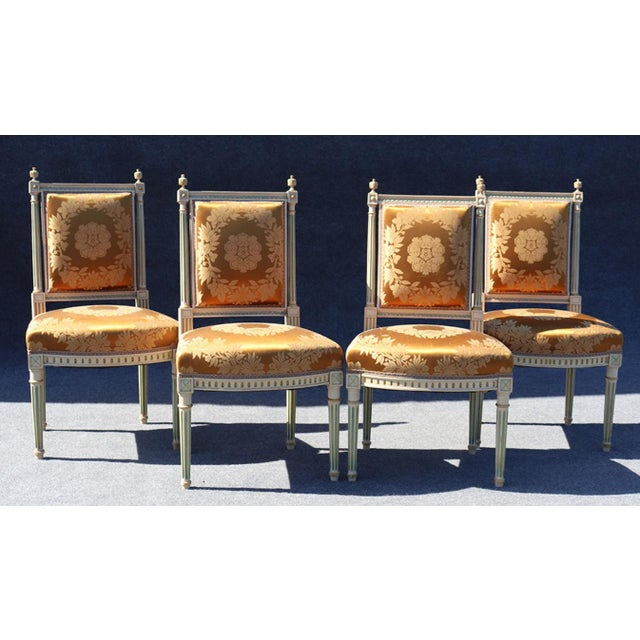 Set of 4 Maison Jansen Louis XVI Style Paint Decorated Silk Side Dining Chairs For Sale - Image 9 of 9