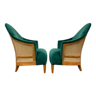 Late 20th Century Custom Emerald Green Velvet Exposed-Back Lounge Accent Chairs - a Pair For Sale