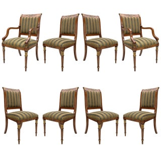 Provasi Dining Room Chairs With Green Stripes - Set of 8 For Sale