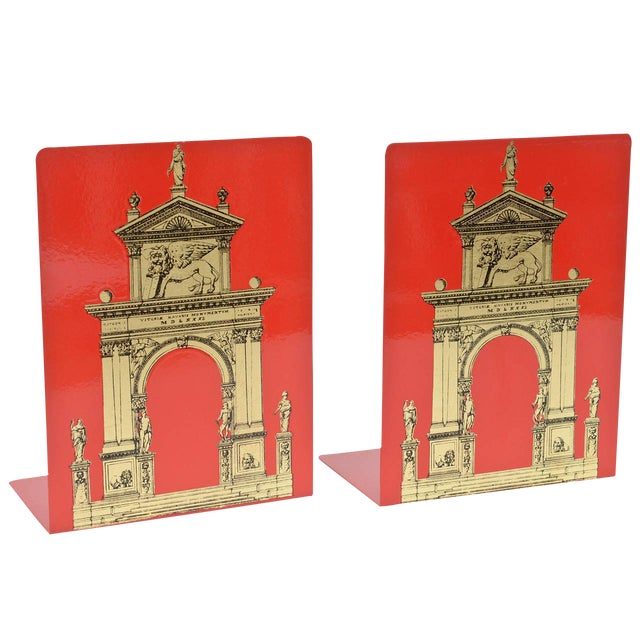 """Pair of Fornasetti Roman Classical """"Porta"""" Metal Bookends For Sale"""