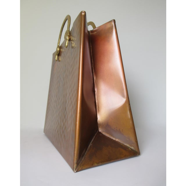Vintage Hollywood Regency Copper & Brass Magazine Holder For Sale - Image 11 of 13