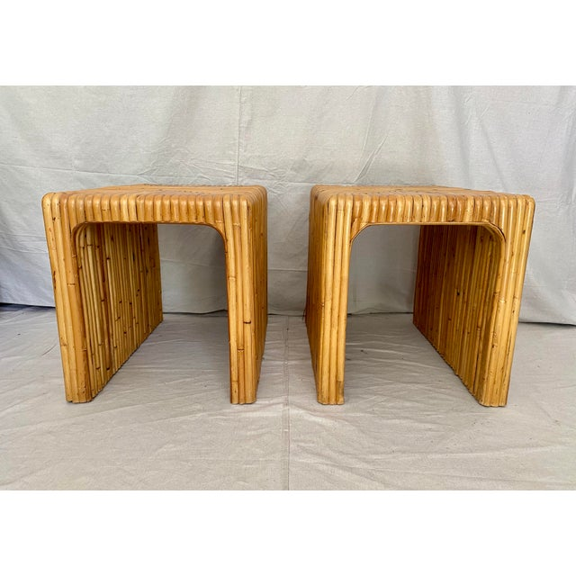 Vintage Split Reed Rattan Waterfall End Tables- a Pair For Sale - Image 4 of 13