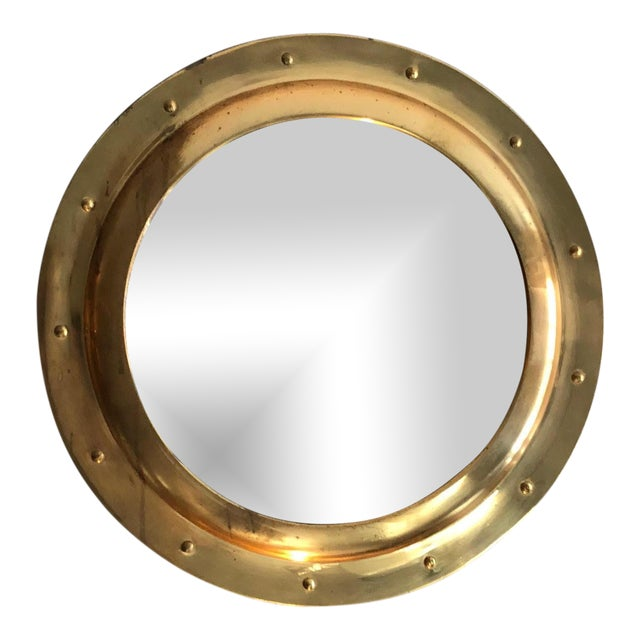 Rivet Porthole Brass Wall Mirror - Image 1 of 4