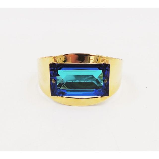 1980s 1970s Bijoux Cascio Italy Blue Rhinestone Cuff Bracelet For Sale - Image 5 of 9