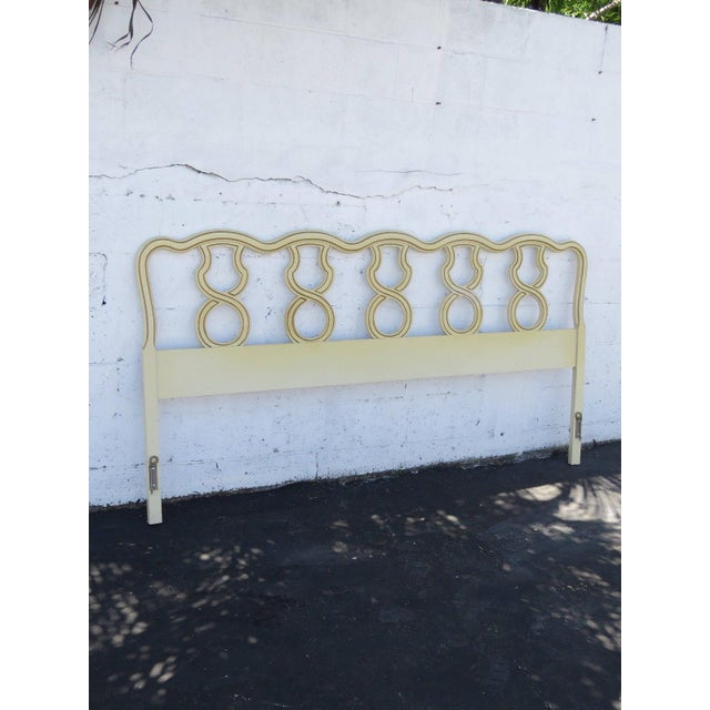 Wood French King Size Painted Headboard For Sale - Image 7 of 11