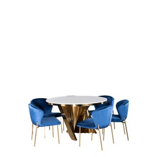 Waterfall Marble Top Gold Dining Furniture-Set of 7 For Sale