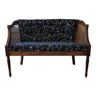 1960s Mid Century Modern Navy Blue Upholstered Cane Settee