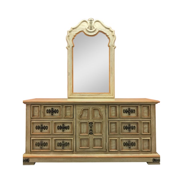 Vintage Stanley Solid Wood Dresser with Mirror - Image 1 of 10