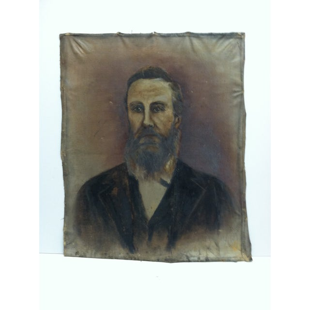"1920s Vintage ""Bearded Man"" Original Painting on Canvas For Sale In Pittsburgh - Image 6 of 6"