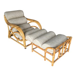 """Restored Two-Strand """"1940s Transition"""" Rattan Chaise Lounge For Sale"""