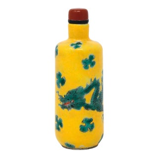 Antique Chinese Enameled Porcelain 'Dragon' Snuff Bottle For Sale