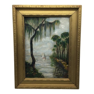 Vintage Framed 1927 Oil Painting on Board of Sailboat Island Scene by Artist M. T. Bramman For Sale