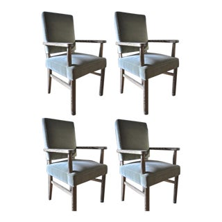 Jacques Adnet Set of 4 Cerused Oak Armchairs