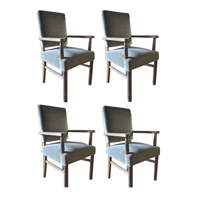 Jacques Adnet Set of 4 Cerused Oak Armchairs For Sale