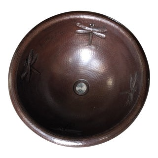 Copper Dragonfly Vessel Sink For Sale
