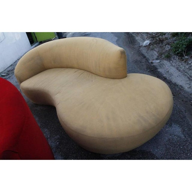Curved Kidney Chrome Ultrasuede Sofas - A Pair For Sale - Image 9 of 11
