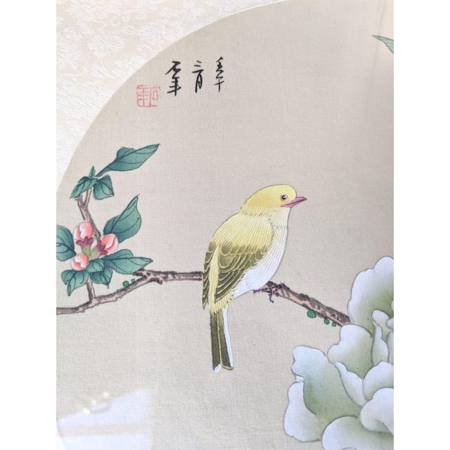 Late 20th Century Bird and Botanical Chinese Round Format Silk Painting on Embossed Textile Paper For Sale In Portland, ME - Image 6 of 7