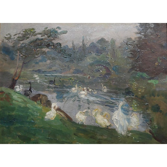 "Impressionism Antonio Barone ""Duck Pond"" Signed Impressionist Oil Painting C.1910 For Sale - Image 3 of 9"