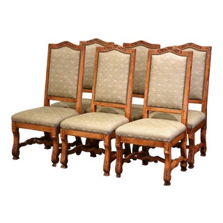 Vintage Set of Six French Louis XIII Carved and Distressed Walnut Dining Chairs For Sale