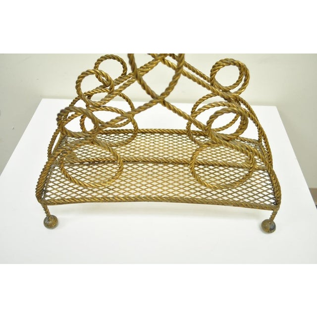 Vintage Italian Hollywood Regency Gold Gilt Iron Rope Tole Magazine Holder For Sale In Philadelphia - Image 6 of 11