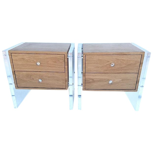 Mid-Century Floating Lucite Nightstands - Pair - Image 1 of 6