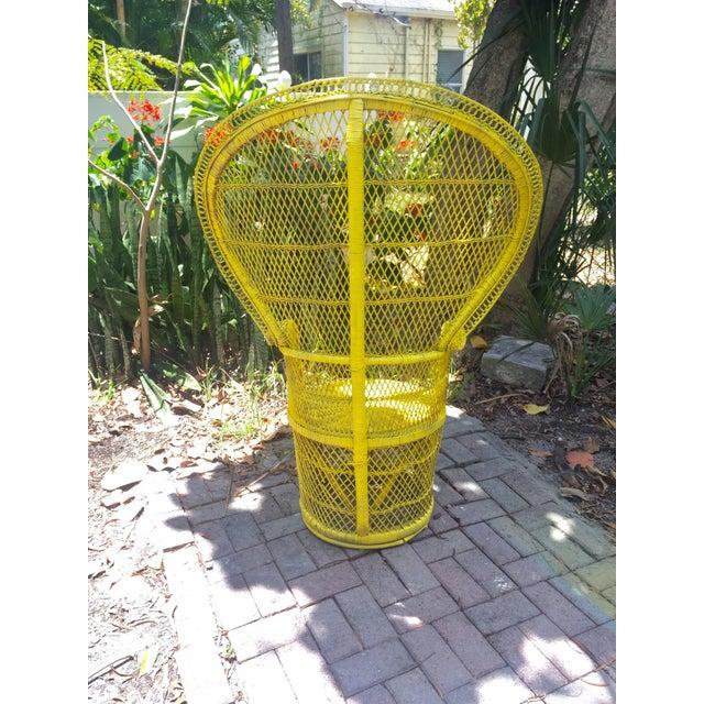 Mid-Century Rattan Wicker Fan-Back Peacock Chair - Image 5 of 9