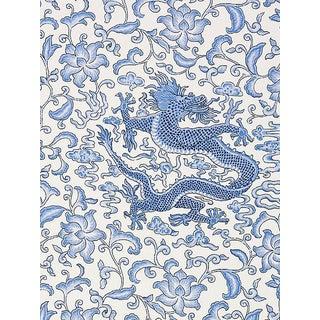 Sample, Scalamandre Chi'En Dragon Linen Print, Hyacinth Blue Fabric For Sale