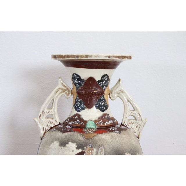 20th Century Japanese Vintage Artistic Satsuma Vase in Decorated Ceramic For Sale - Image 4 of 12