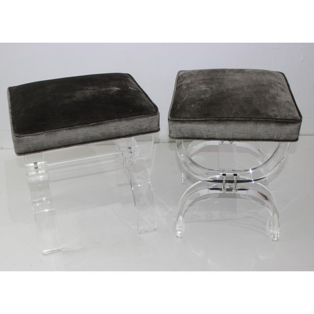 Hollis Jones Style Benches Lucite and Crushed Velvet 1970s - a Pair For Sale - Image 10 of 11
