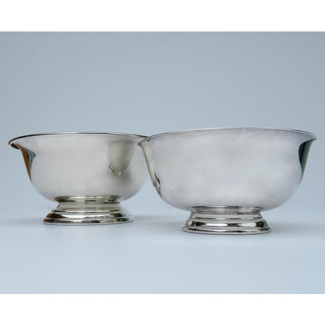 Metal Vintage Silver Plate Reed & Barton and Poole Silversmith Paul Revere Side Dish, Serving Bowls -Set of 2 For Sale - Image 7 of 12