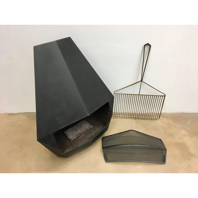 Black Model 5005 Mid-Century Modern Steel Fireplace From Don-Bar Design, 1970s For Sale - Image 8 of 12