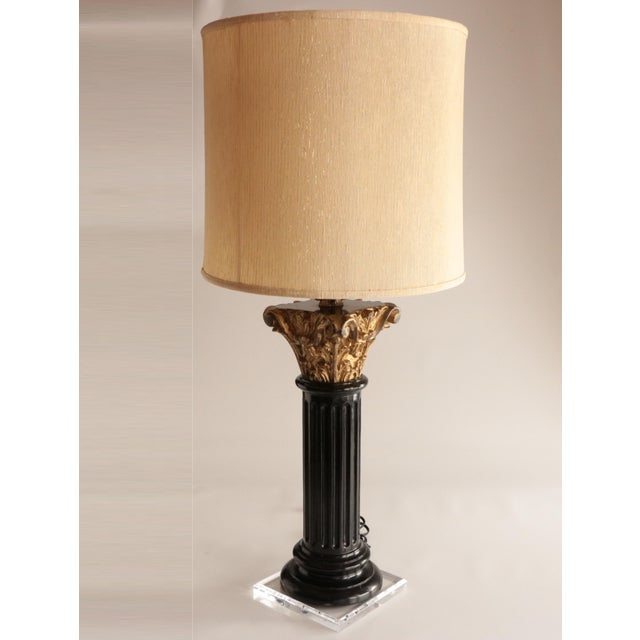 Carved Wood Corinthian Column Table Lamp For Sale In Madison - Image 6 of 7