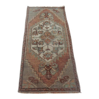 1960s Vintage Turkish Rug - 1′4″ × 3′4″ For Sale