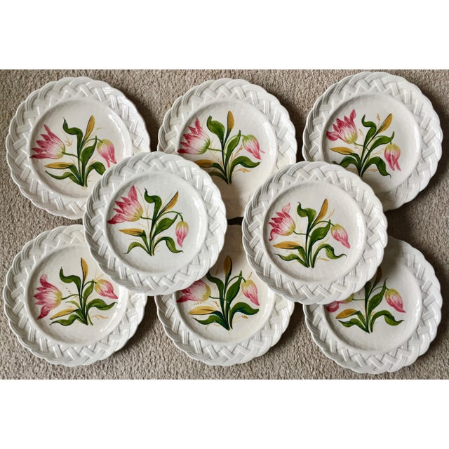 Italian Faience Hand-Painted Tulip Plates-Set 8 For Sale - Image 12 of 13
