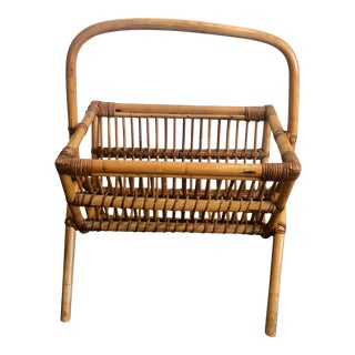Vintage Franco Albini Bentwood Rattan Magazine Rack For Sale