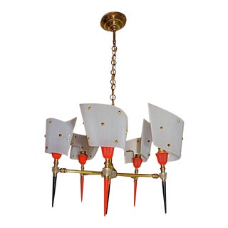 French Antique Chandelier in the Pierre Guariche Style For Sale