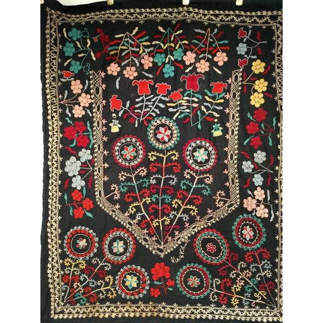 "Late 1800s Hand-Stitched Suzani- 3' X 5' 3"" For Sale - Image 9 of 13"