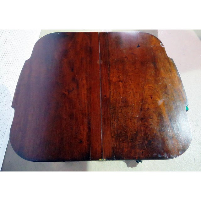 Duncan Phyfe Antique Traditional Duncan Phyfe Style Card Table For Sale - Image 4 of 10