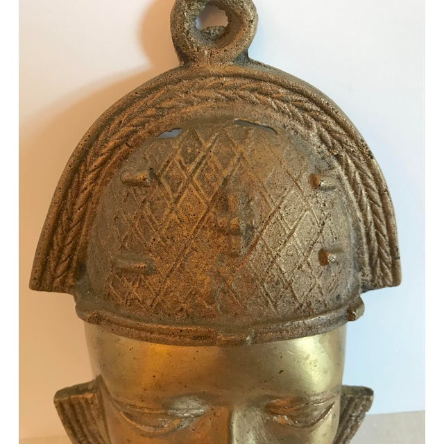 Vintage Brass African Mask For Sale - Image 4 of 11