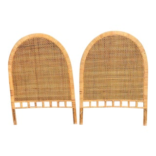 Woven Rattan Arched Twin Headboards - a Pair For Sale