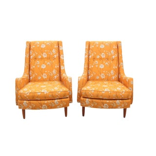 Mid Century Wingback Chairs - a Pair For Sale