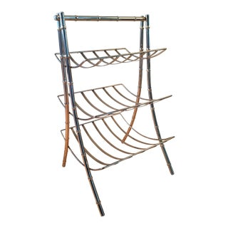 20th Century Art Deco Brass Three Tier Magazine Rack For Sale