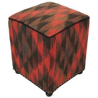 Boho Chic Earley Pink/Black Handmade Kilim Upholstered Ottoman For Sale