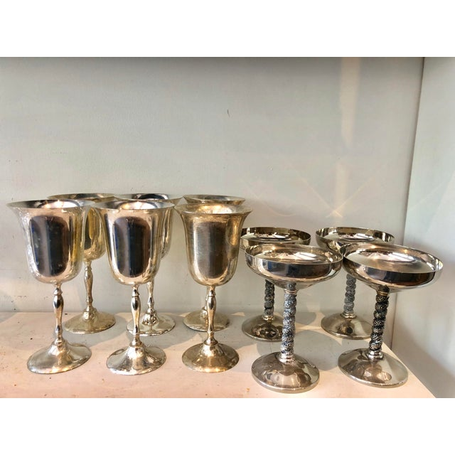 Glass Mismatched Silver Glasses, Set of 10 For Sale - Image 7 of 7