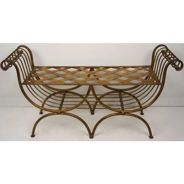 Hollywood Regency Gold Gilt Metal Bench With Tiger Cushion, Italian 1960s For Sale In West Palm - Image 6 of 11