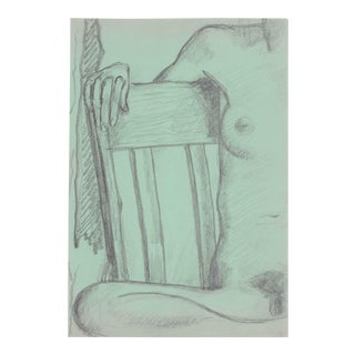 Seated Female Nude Drawing by James Bone For Sale