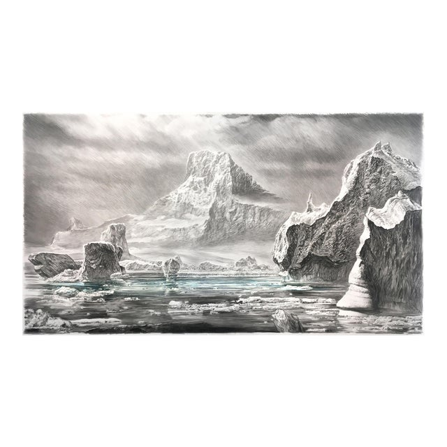 """Contemporary """"Iceberg"""" Rick Shaefer Charcoal Print For Sale"""
