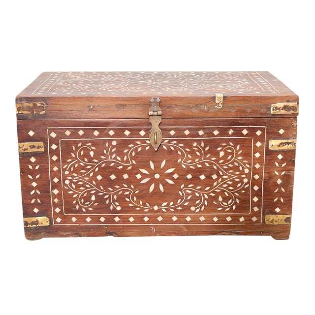 Brass Strap Inlaid Cash Box For Sale